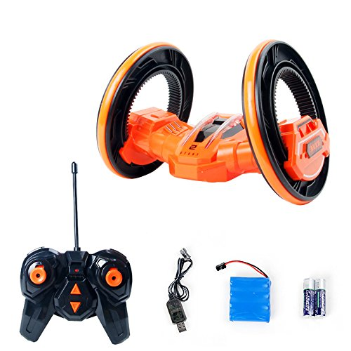 SainSmart Jr. Stunt Car Tumbling Car Two Wheels RC Jump Car, 2.4Ghz Remote Control Vehicles with LED Headlights, (Sit In Remote Control Car)