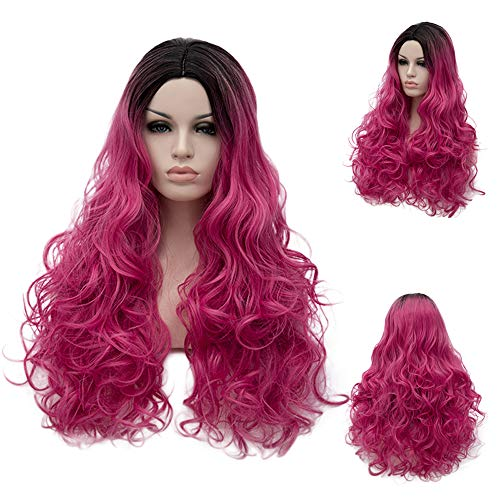 "BERON 25.5"" Women Girls Long Curly Wig Dark Root Ombre Parted Synthetic Wavy Wigs for Daily Use or Halloween Cosplay Party (Black to Hot Pink) ()"