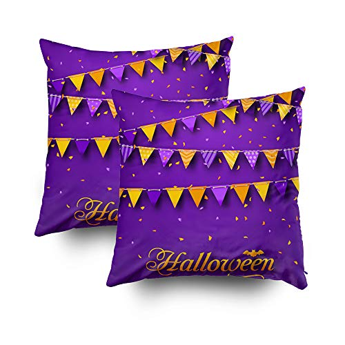Shorping Kid Pillow Covers, Zippered Covers Pillowcases 18x18Inch Pack 2 Throw Pillow Covers Illustration Halloween Party Background with Hanging Triangular String Vector for Home Bedding -