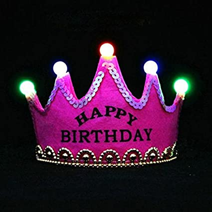 happy birthday crown Buy Skky bell Happy Birthday Crown hat (Dark Pink) with LED Light  happy birthday crown