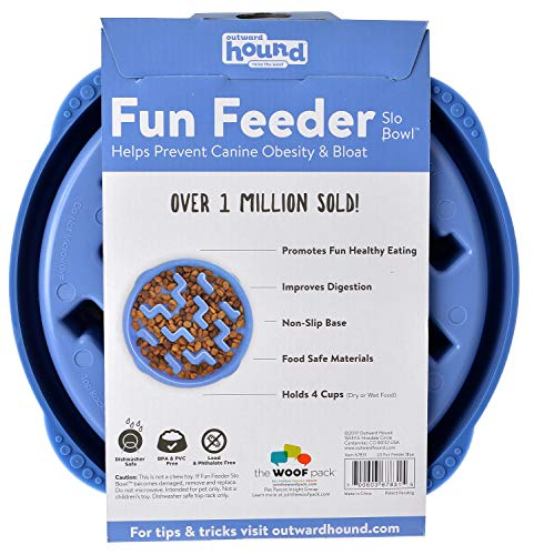 Outward Hound Fun Feeder Dog Bowl Slow Feeder Stop Bloat for Dogs