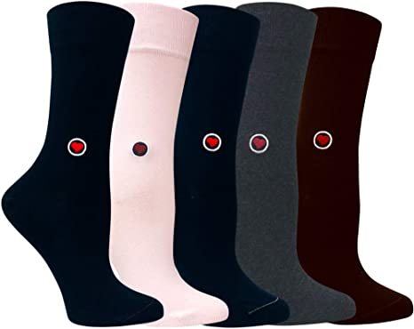 Navy White Women/'s 3 Pack Funky Striped Solid Luxury Trousers Crew Socks Organic Cotton Love Sock Company