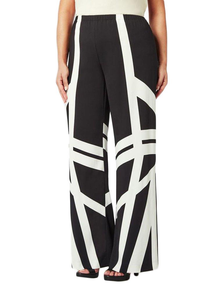 Marina Rinaldi Women's Ro Long Printed Pants 12W / 21 Black/White