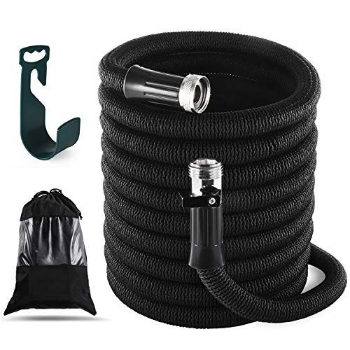 InGarden Expandable Garden Hose 100ft with Double Latex Core, 3/4″ Solid Brass Rust-Proof Fittings, Extra Strength Fabric, Lightweight and Kink Free Flexible Water Hose with Hanger and Storage Bag
