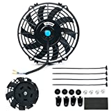 8milelake 12V 80W High Performance Black Slim Electric Cooling Radiator Fan with Fan Mounting Kit(9 inch)