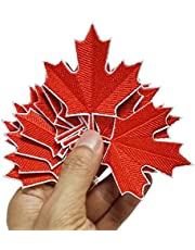 """2.4""""x2.8"""" 12pcs Canadian Maple Leaf Red Patch Iron On Sew On Embroidered Patches Appliques Machine Embroidery Needlecraft Sewing Kids Child Girls"""