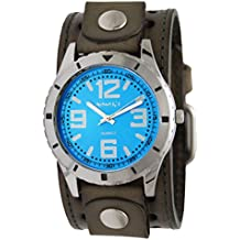 Nemesis Blue Sporty Racing Watch with Retro Olive Single Stitched Leather Cuff Band, GSTH096L