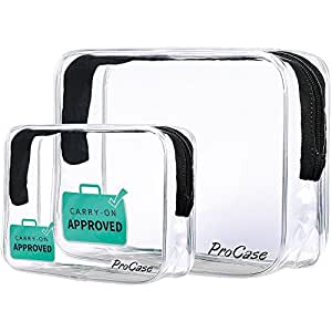 ProCase Clear Carry-On Travel Toiletry Bag, TSA Approved Airport Airline Compliant Quart Bag Zipper Pouch for Cosmetics, Containers, Men's and Women's 3-1-1 Kit (Set of 2, Large + Small)