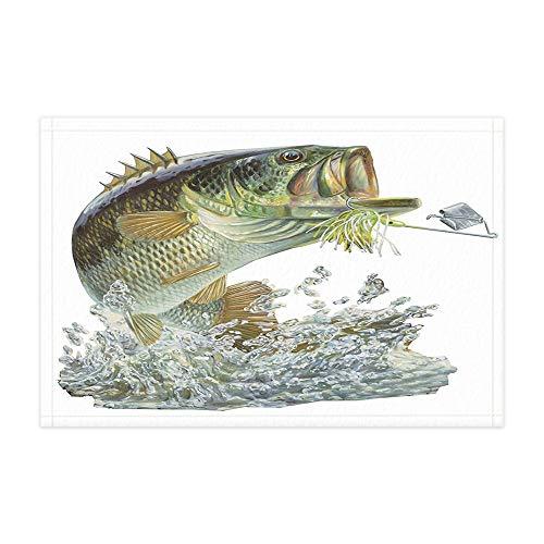 Fishing Lover Bath Rugs, Striped Bass with Lure Hook Outdoor Sports Safari Flannel Non-Slip Floor Doormat Entryways Indoor Front Door Mat, Bathroom Accessories Decor, 15.7x23.6in