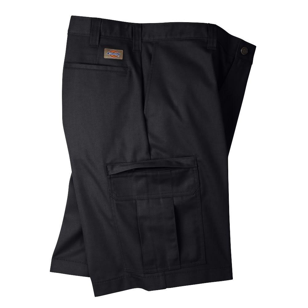Dickies Occupational Workwear LR542BK 42 Polyester//Cotton Relaxed Fit Mens Premium Industrial Cargo Short with Hidden Snap Closure 42 Waist Size Black 11 Inseam