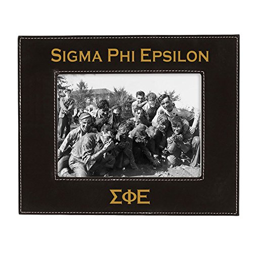 Express Design Group Greekgear Sigma Phi Epsilon SigEp 4 Inch X 6 Inch Leatherette Picture Frame Black/Engraves Gold ()