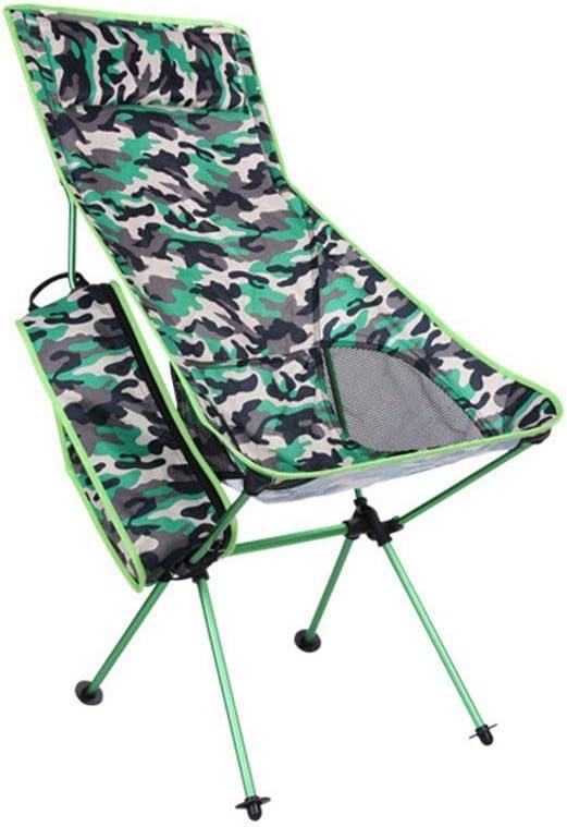 ZXBN Multifunción Silla portátil Playa Respaldo Ultra Alto con Almohada Tumbona reclinable Jardin Respirable Paño Oxford Silla para el Aire Libre PescaA-40x90x100cm