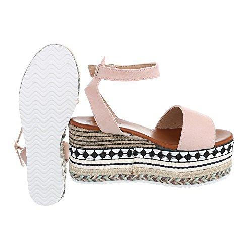 Chaussures Femme Sandales Compensé Sandales Compensees Rose Pointure 38