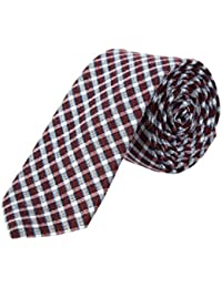 Mens Wine Plaid Silk -Blend Tie, Os, Red