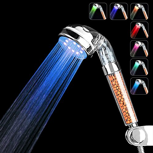 LED Shower Head Fywonder, Prevention of Hair Loss Ionic Shower Head, Negative Ionic Double Filter Removes Heavy Metals, Chlorine - 7 Color Changing by Fywonder-US