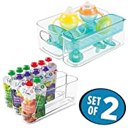 mDesign Baby Food & Mealtime Storage Organizers - Set of 2, Clear/Aqua Blue
