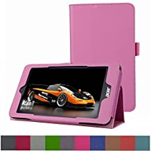 """Acer Iconia ONE 7 B1-750 Case,Mama Mouth PU Leather Folio 2-folding Stand Cover with Stylus Holder for 7"""" Acer Iconia ONE 7 B1-750 Android Tablet,Pink"""