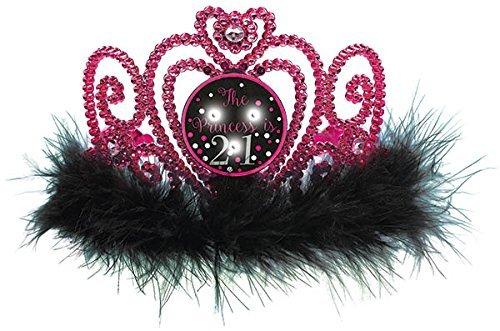 - Amscan 251566 21st Brilliant Birthday Flashing Tiara, 4'' x 5 5/8'', Pink/Black