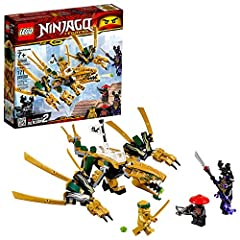 Recreate the epic Final Battle between Golden Ninja Lloyd and Overlord with the LEGO NINJAGO Legacy 70666 Golden Dragon, featuring a minifigure saddle, opening mouth with hidden stud shooter, and posable legs, wings and tail. This cool ninja ...