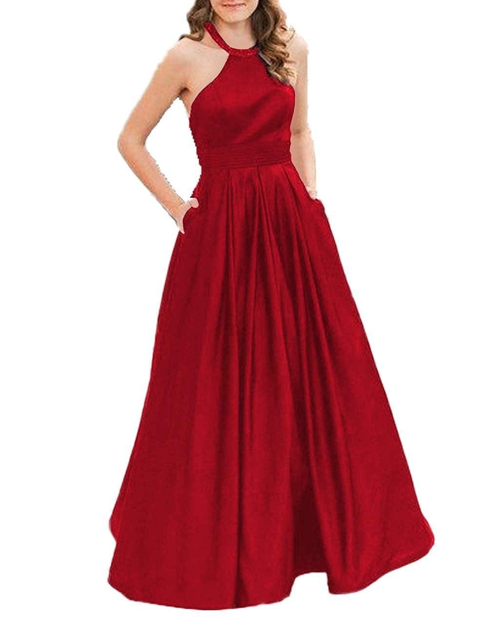 Burgundy JAEDEN Prom Dress Long Evening Dresses for Women Formal Evening Gowns Halter Prom Dress 2019
