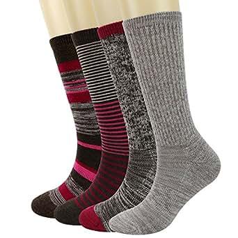 PlusAg 4P Pack Women's Merino Wool Micro Crew Cushion Socks (39-42 (US 9-11 US Shoe Size 4-10½), Beige Grey/Wine/Stripe)
