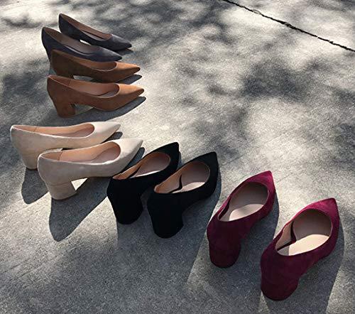Purple Unie Talons Daim Talons Chaussures avec de de Blocage Pointues Orteils Court Couleur Femmes 431 wqW6F1TSAW