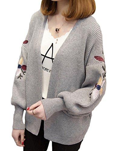 (エスティーリーフ)Esty leaf レディース 花柄 刺繍 ニット カーディガン 長袖 ゆったり 大きいサイズ ショート丈 森ガール