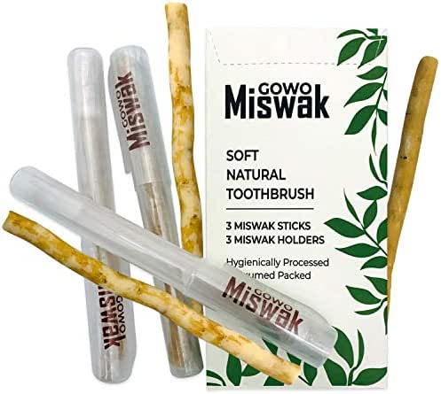 GOWO 3 Pack Miswak Sticks and Holders - Natural Teeth Whitening Kit - Natural Toothbrush - No Toothpaste Needed - Herbal Teeth Whitener and Breath Freshener - (Includes 3 Sticks and 3 Holders)