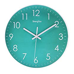 Bien-Zs 10-Inch Non-Ticking Silent Quartz Wall Clock with Modern Design Quiet Sweep Movement Decor for Living Room Kitchen Indoor Decorative Wall Clocks Battery Operated (Light Green)