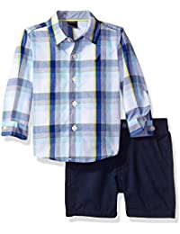 Nautica Baby Boys' Long Sleeve Button Down and Flat Front Short Set