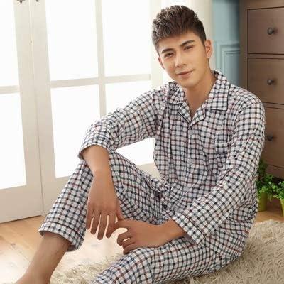 パジャマ CHJMJP スリープトップ&パンツ男性Pijamaカジュアルホームの春秋冬男性100%コットンパジャマセット (Color : Color 1, Size : XXXL)
