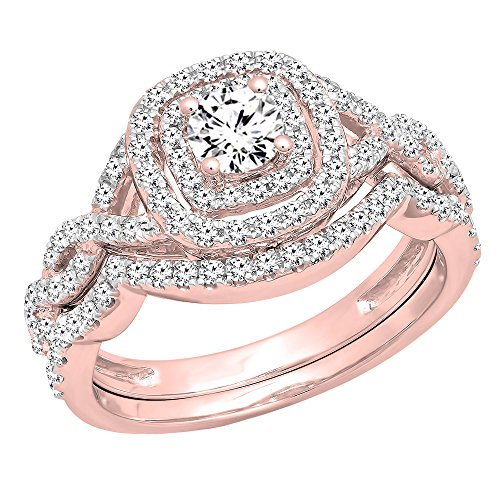 (Dazzlingrock Collection 1.00 Carat (ctw) 14K White Diamond Swirl Bridal Halo Engagement Ring Set 1 CT, Rose Gold, Size 7)