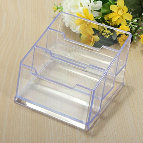 Rely2016 Plastic Clear Acrylic 3 Tier Layer Desktop Office Business Card Holder Sundries Shelf - Tier Desktop Plastic Three