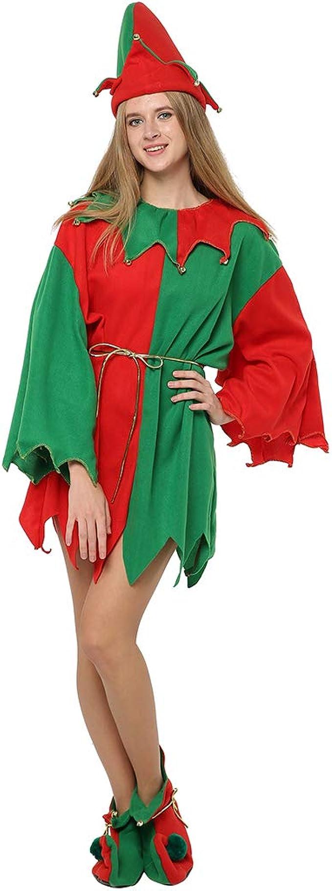 EraSpooky Disfraz de Duende de Papá Noel Ayudante Mujer Navidad ...