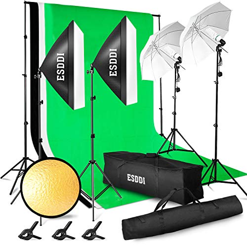 (ESDDI Lighting Kit Adjustable Max Size 2.6Mx3M Background Support System 3 Color Backdrop Fabric Photo Studio Softbox Sets Continuous Umbrella Light Stand with Portable Bag)