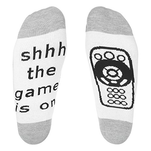 IF YOU CAN READ THIS Funny Saying Knitting Word Combed Cotton Crew Wine Coffee Beer Socks for Men Women (Gray White (Game)) (Games For Christmas White Elephant)