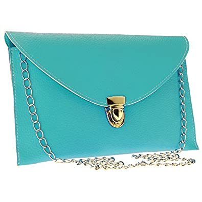 2423d3854723 Wholesale Solutions Ladies Leather Envelope Clutch Chain Evening Shoulder  Handbag Color  Turquoise