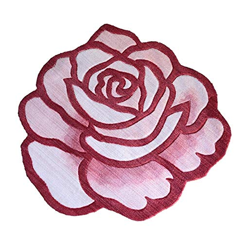 Round Classic Home Art Rug Nordic Retro Flower Pattern for Living Room Sofa Bedroom for Relaxing Reading Multi Colours Non-Slip Mat in Various Sizes Soft Carpet (90x90cm) (Color : Pink) ()