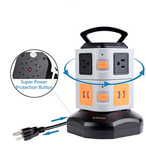Surge Protector Power Tower, Rdxone Vertical Rotating 6-Outlet with 4-USB Power Strip Multi Outlet Surge Protector Plug Box Extension Socket with Retractable Power Cord (1.8M)