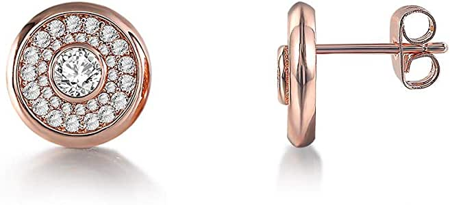 Electroplated diamond zircon earrings ladies simple earrings