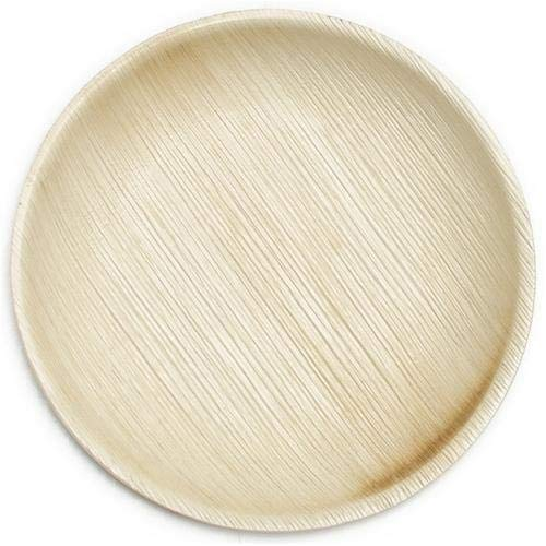 Eco-Friendly Disposable Dinnerware Set of 150 Party Supplies: Large 10″ Palm Leaf Plates (50), Wooden Forks(50) & Knives (50) – Natural, Compostable (Round)