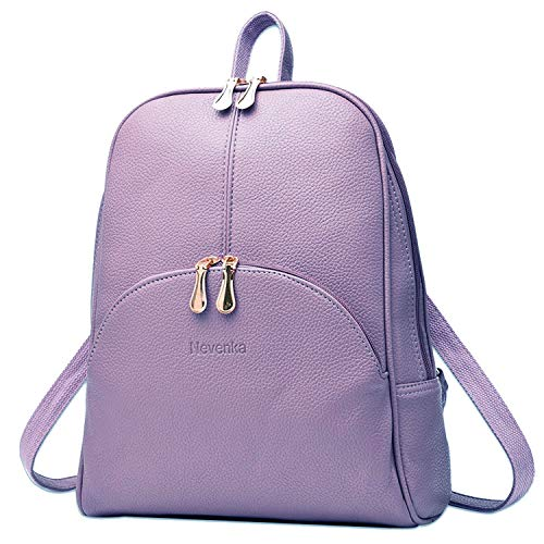 Nevenka Brand Women Bags Backpack Purse PU Leather Zipper Bags Casual Backpacks Shoulder Bags (Purple)