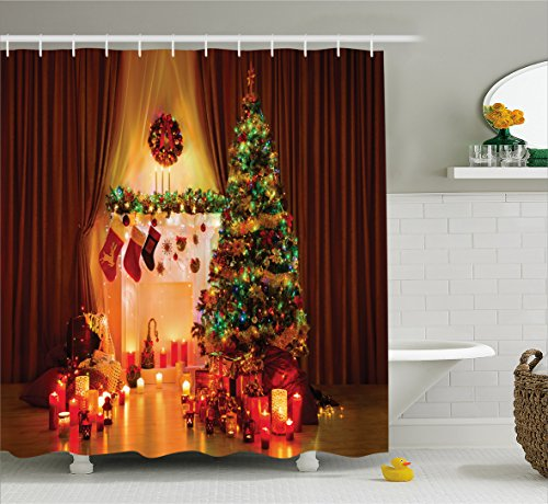 Ambesonne Christmas Shower Curtain Decorations, Christmas Candles Lights Stockings Reindeer Gift Boxes Spirit in Peaceful House with Lights and Decorative, Polyester Fabric Set with Hooks, Multi
