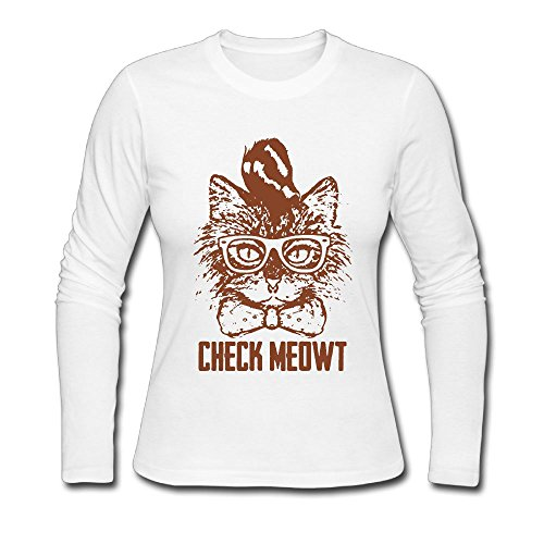 Price comparison product image Cool Hip Punk Cat Check Meowt Women's Soft Long Sleeve Round Neck Pullover Sweatshirt Pullover Shirt Tops