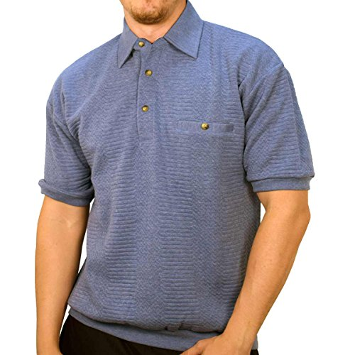 Banded Bottom Classics by Palmland Solid French Terry Polo Shirt - 6090-780 (Large, BlueHT)