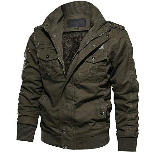 (CRYSULLY Men's Casual Winter Warm Coats Cotton Ripstop Enclosure Jacket Army Green/US XL/tag6xl)