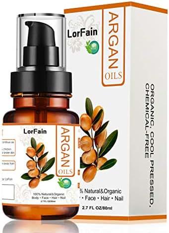 LorFain Organic Argan Oil for Hair, Face, Skin Care, Natural Cold Pressed Oil Anti-Aging, Anti-Wrinkle, Antioxidant, Vegan, Daily Moisturizer for Women Men 2.7 FL OZ 80ml