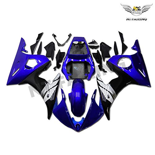 (NT FAIRING Blue Black Injection Mold Fairing Fit for Yamaha YZF 2003-2005 R6 & 2006-2009 R6S New Painted Kit ABS Plastic Motorcycle Bodywork Aftermarket)