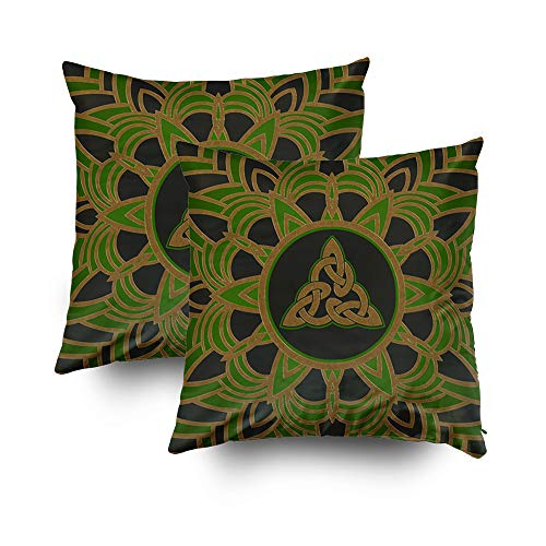 TOMWISH 2 Packs Hidden Zippered Pillowcase Celtic Trinity Knot Triquetra Round 18X18Inch,Decorative Throw Custom Cotton Pillow Case Cushion Cover for Home