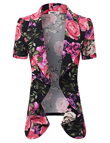 Basic Tuxedo - CLOVERY Women's Short Sleeve Casual Basic Work Office CardiganTuxedo Blazer, PURPLEROSE XL Plus Size
